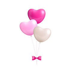 bundle balloons form hearts bow isolated vector image