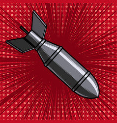 cartoon bomb on background with speed lines vector image