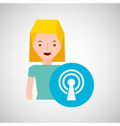 Cartoon girl wireless internet design vector