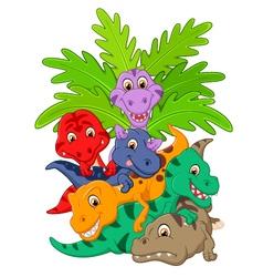Cartoon group of dinosaur vector