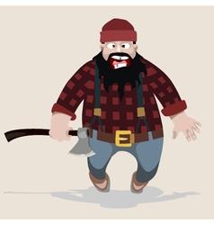 Cartoon screaming man lumberjack with an ax vector