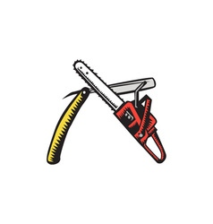Chainsaw straight razor crossed woodcut vector