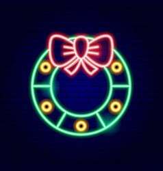 christmas wreath neon sign vector image