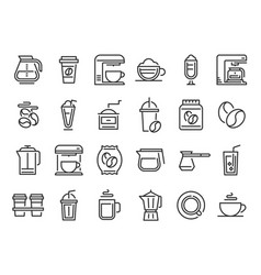 coffee line icons hot drink cup nature coffee vector image