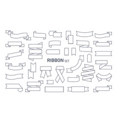 collection of various ribbons drawn with black vector image