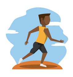 color scene with faceless brunette runner man vector image