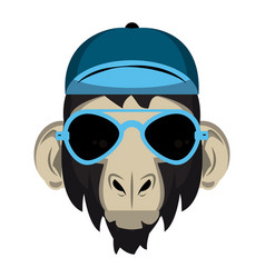 Cool hipster monkey vector