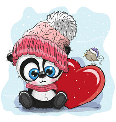 Cute cartoon panda in a knitted cap vector