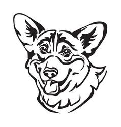 Decorative portrait dog welsh corgi vector