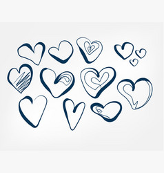 doodle hearts one line isolated design element vector image