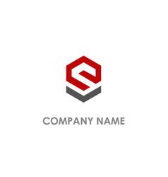 e shape line business logo vector image