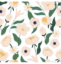 elegant floral seamless pattern with peonies vector image