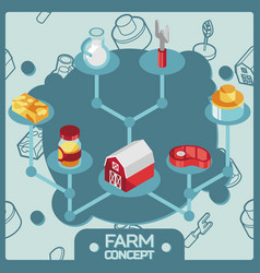 farm color isometric concept icons vector image