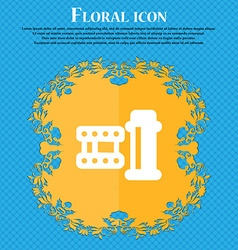 film Icon sign Floral flat design on a blue vector image