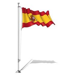 Flag Pole Spain vector image