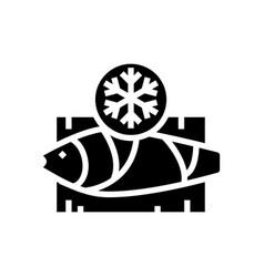 Frozen tuna glyph icon vector