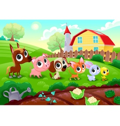 Funny farm animals in the garden vector image