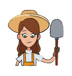 Gardener woman icon vector