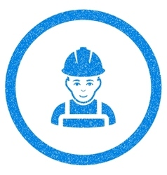 Glad Worker Rounded Icon Rubber Stamp vector