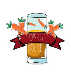 Glass of carrot juice and fresh carrots vector