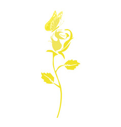 golden rose and butterfly vector image