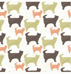 green brown and pink pastel kitten cat silhouette vector image