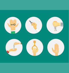 Hands holding key apartment selling human gesture vector