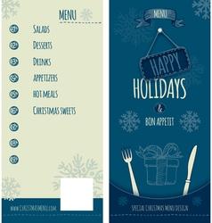 Happy Holiday Christmas menu vector image