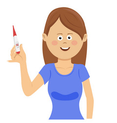 Happy woman showing positive pregnancy test vector