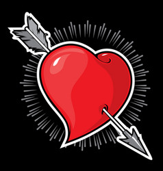 Heart shape and arrow vector