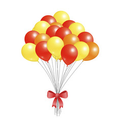 Helium flying elements decorated red bow balloons vector