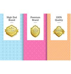 high end premium quality 100 award golden labels vector image