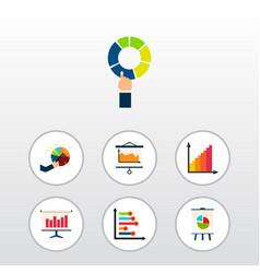 icon flat chart set of segment statistic chart vector image
