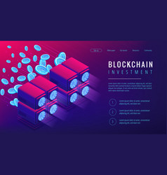 isometric blockchain investment landing page vector image