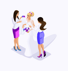 isometrics sellers help bride to dress for fit vector image