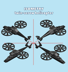 Isometry 3d black helicopter with two screws vector