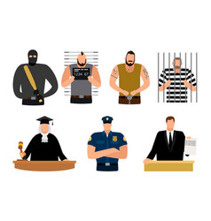 justice people prisoner and defendant policeman vector image