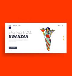 kwanzaa holiday celebration landing page template vector image