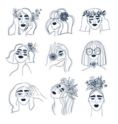 line art set woman with flowers vector image