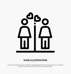 Love couple washroom signs line icon vector