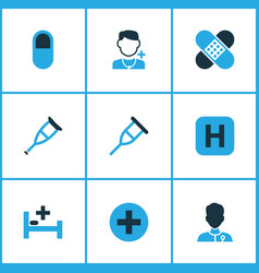 Medicine icons colored set with patch plus stand vector