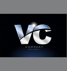 Metal blue alphabet letter vc v c logo company vector