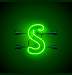 Neon font letter s art design singboard vector