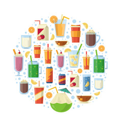 Non alcoholic drinks in circle shape vector