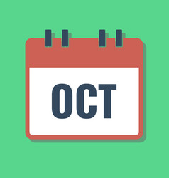 October month name in calendar flat style vector