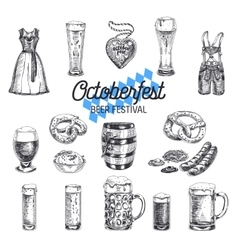 Octoberfest set beer products vector