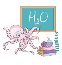 octopus school school autumn sea vector image