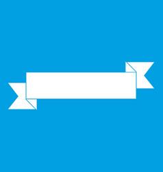 Origami ribbon icon white vector