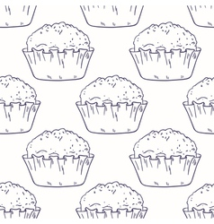 Outline seamless background with muffins vector image