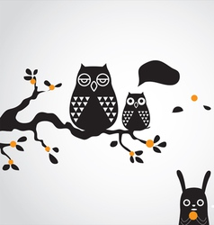 Owl and tree vector
